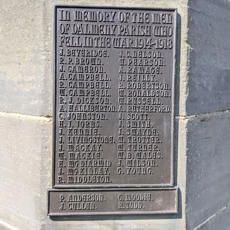 Dalmeny Memorial. The plaques naming those who died in World War I.