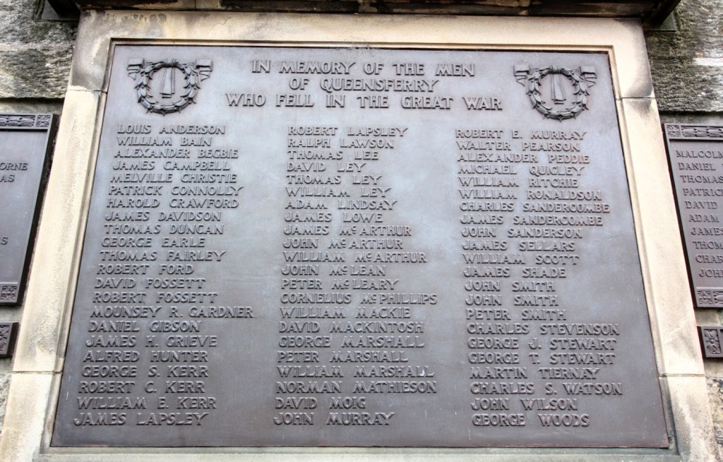 The main plaque at Queensferry marks those who died in World War I.