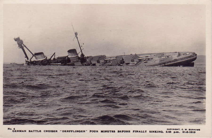 German Battle-cruiser Derfflinger sinking at Scapa Flow © Imperial War Museum.