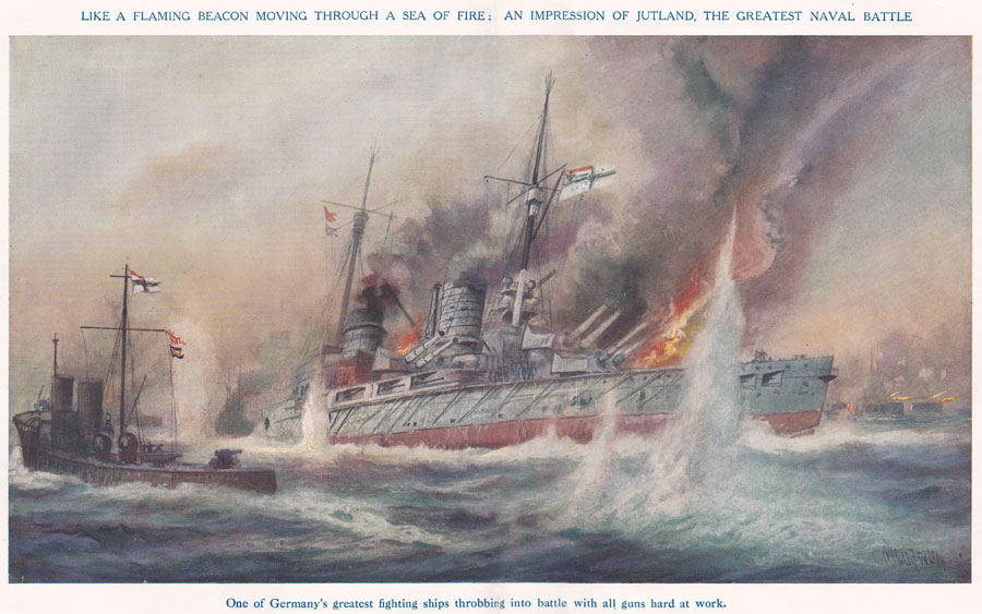 German ships at the Battle of Jutland, Our Wonderful Navy, Cassell & Co, artist Charles deLacy ©  Imperial War Museum.