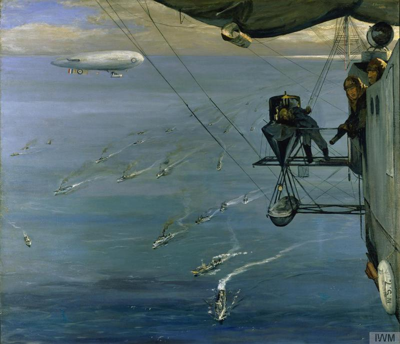 A Convoy in the North Sea off the coast of Norway from airship NS 7, artist John Lavery ©  Imperial War Museum.