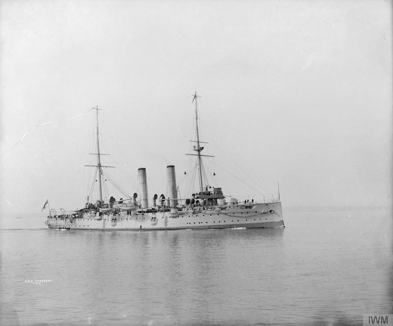 HMS Crescent before she was converted to a depot ship ©  Imperial War Museum.