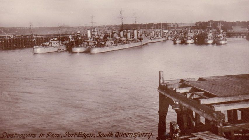 Destroyers in Pens, Port Edgar, South Queensferry ©  Imperial War Museum.
