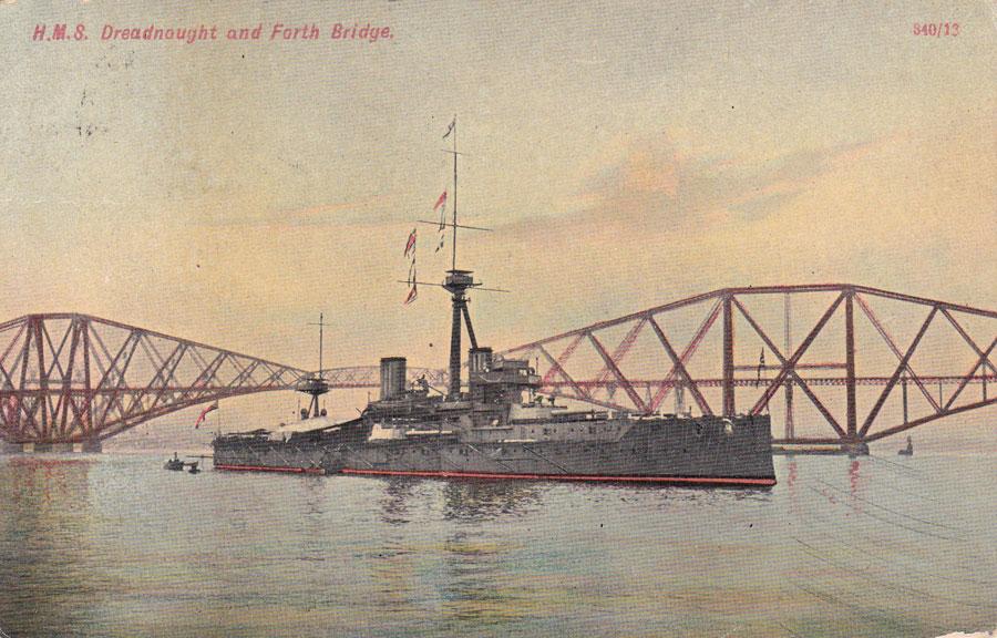 HMS Dreadnought below the Forth Bridge ©  Imperial War Museum