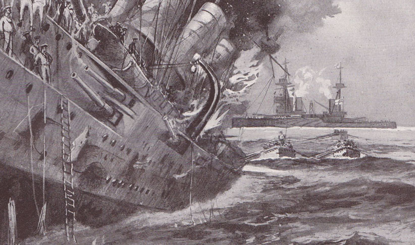 The sinking of the Scharnhorst, Our Wonderful Navy, Cassell & Co, artist Charles deLacy © Imperial War Museum