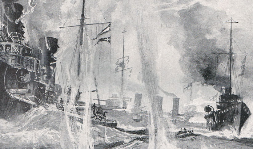 Heligoland Bight action, Our Wonderful Navy, Cassell & Co, artist Charles deLacy © Imperial War Museum.