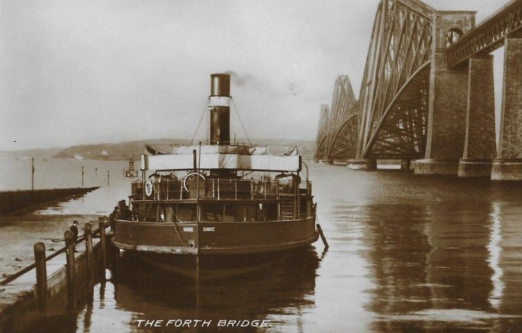 Old postcard showing The Forth Bridge and a ferry.