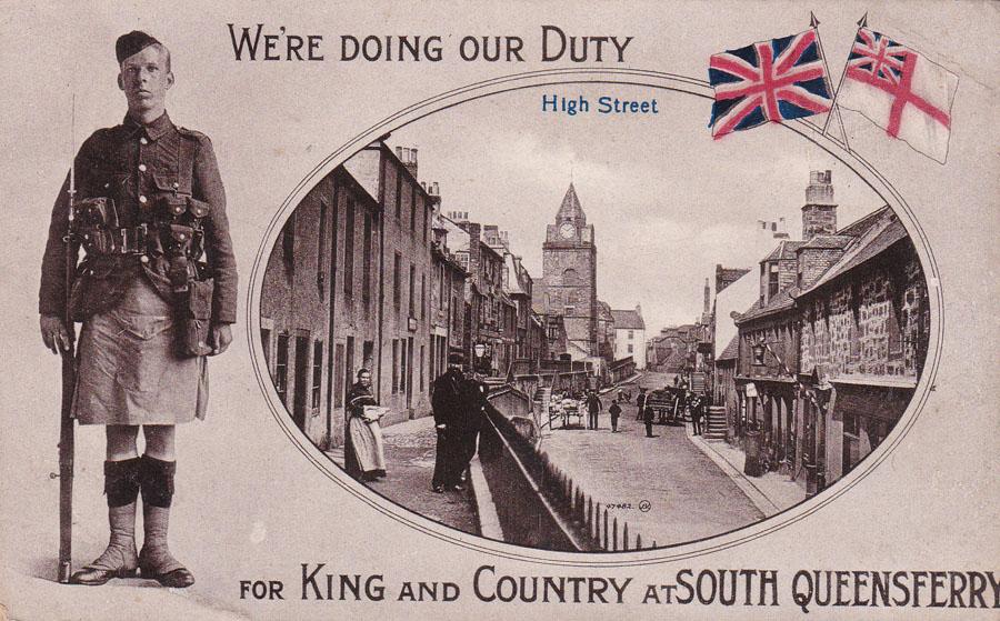 A postcard from World War I, showing Queensferry High Street.